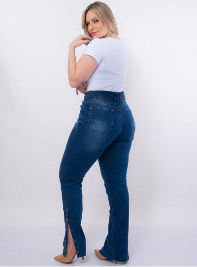 Calça Jeans Plus Size Botões na Barra