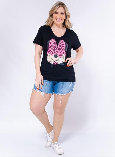 T-shirt Plus Size Minnie Laço Neon