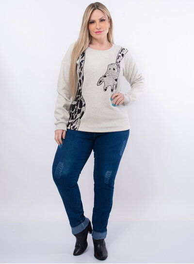 Casaco Plus Size Moletom Girafa