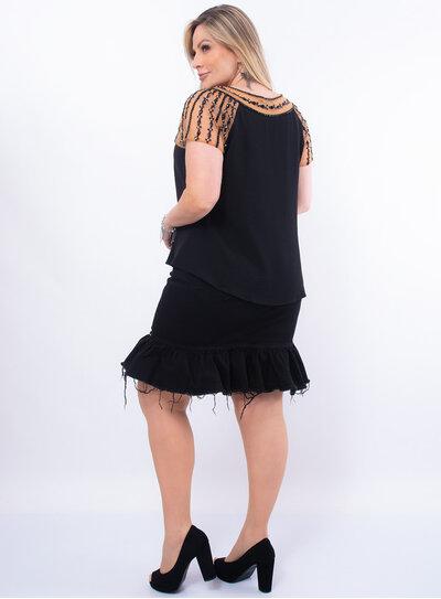 Blusa Plus Size Pedrarias