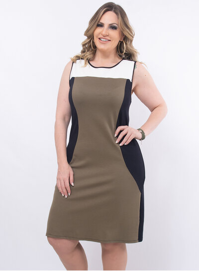 Vestido Plus Size Tricolor