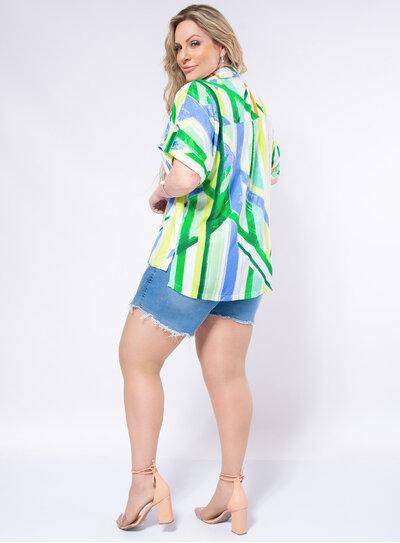 Camisa Plus Size Listras Aquarela