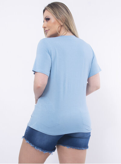 T-Shirt Plus Size Laço com Pedrarias