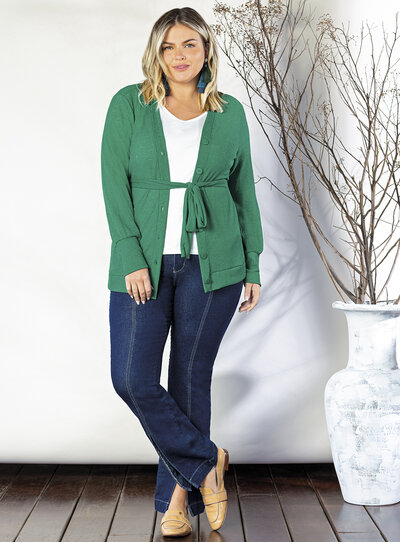 Cardigan Plus Size em Tricot
