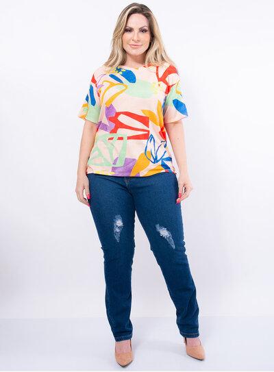 T-Shirt Plus Size Folhagens