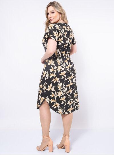 Vestido Plus Size Floral Acinturado