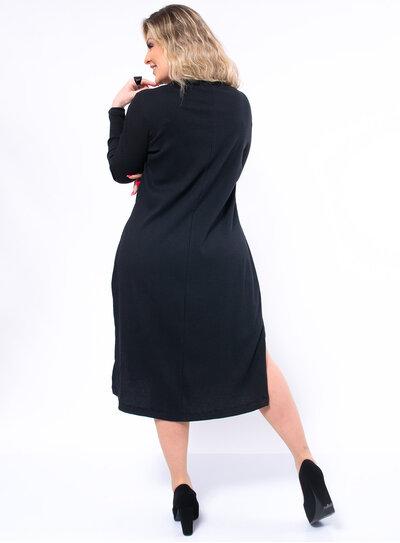 Vestido Plus Size Midi em Malha Canelada