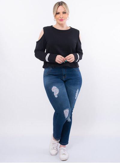 Blusa Plus Size Recorte nos Ombros