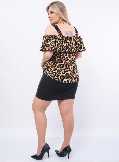 Blusa Plus Size Animal Print Ciganinha