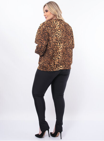Jaqueta Plus Size Animal Print
