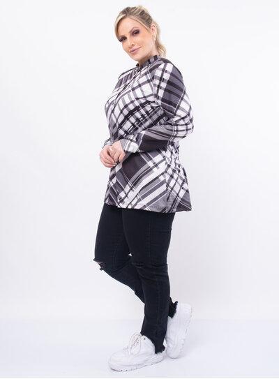 Blusa Plus Size Longa Xadrez