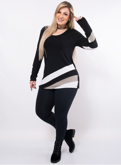 Blusa Plus Size Alongada com Camadas
