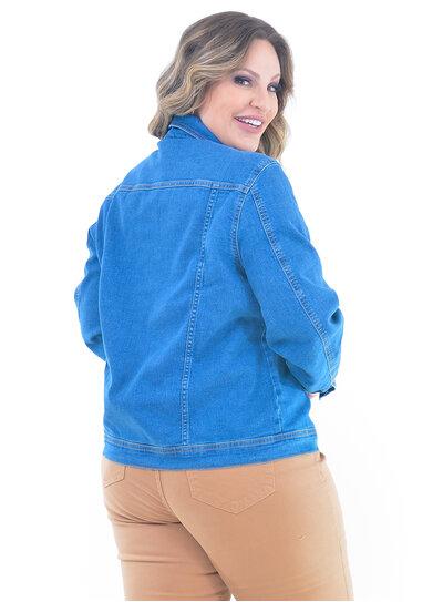 Jaqueta Plus Size Jeans com Elastano