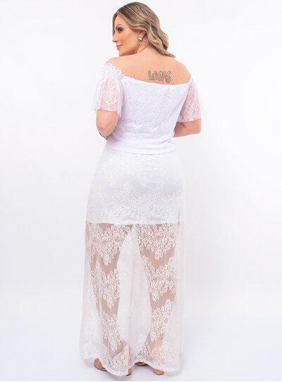 Conjunto Plus Size em Renda Branco