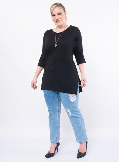 Blusa Plus Size em Tricot Longa