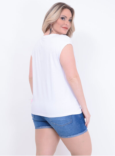 T-shirt Love Branca Plus Size