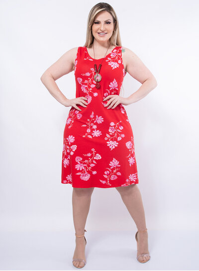 Vestido Plus Size Evasê Floral