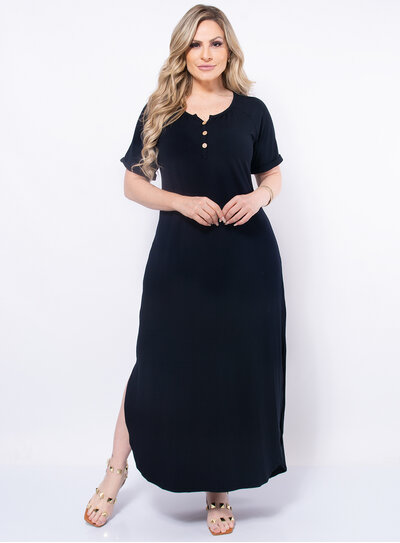 Vestido Plus Size Longo Botões no Decote