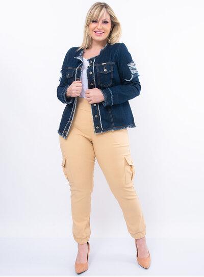 Jaqueta Plus Size Jeans Detalhe Destroyed