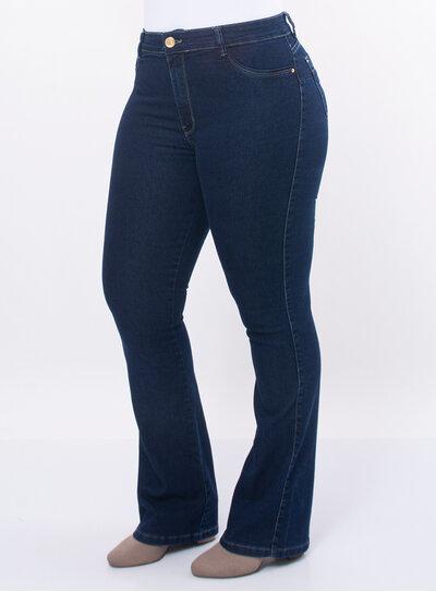 Calça Plus Size Jeans Flare Básica