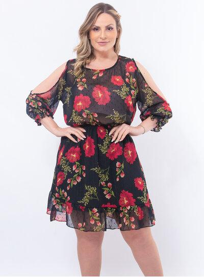 Vestido Plus Size Flores