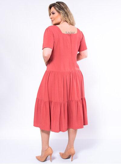 Vestido Plus Size Midi Decote Princesa