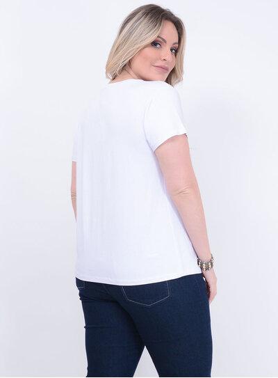 T-shirt Estampada Branca Plus Size