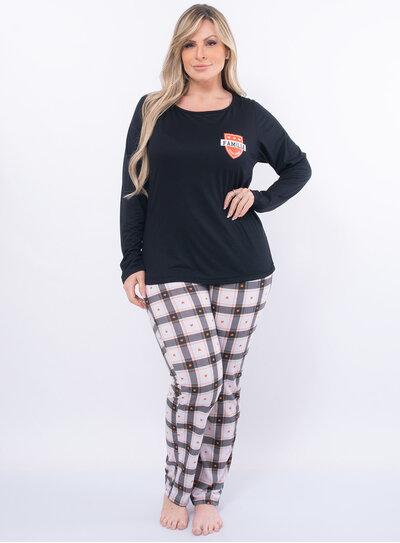 Pijama Plus Size Estampado com Calça Xadrez