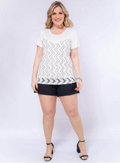 Blusa Plus Size Tule Geométrico
