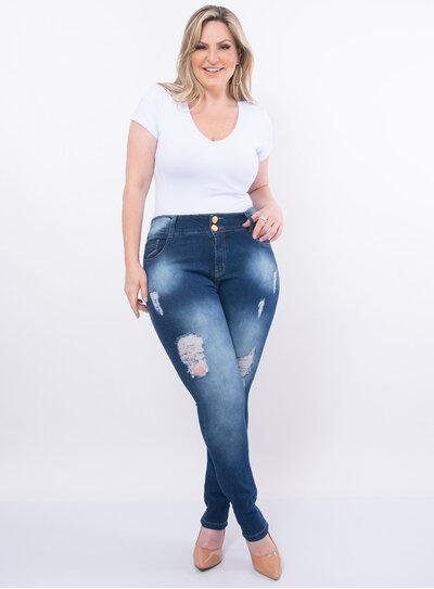 Calça Plus Size Jeans Cintura Alta