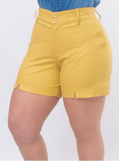 Short Plus Size Recorte Frontal