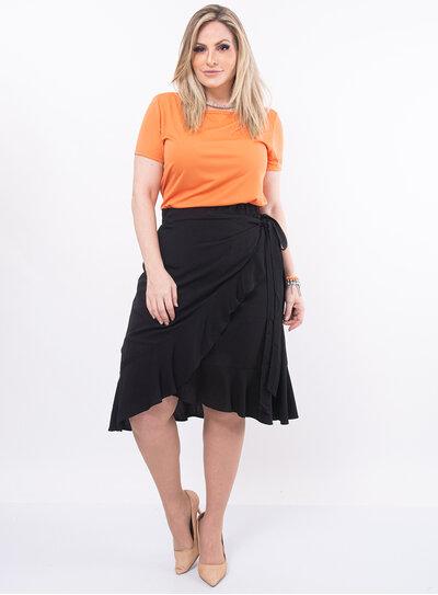 Blusa Plus Size Laranja Assimétrica