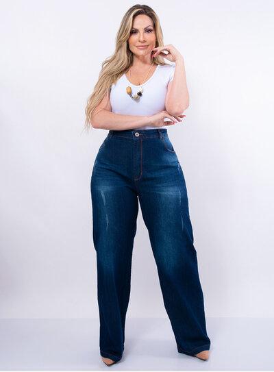 Calça Wid Leg Jeans Plus Size