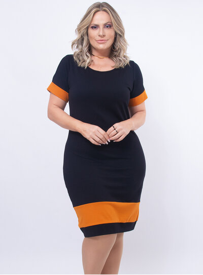 Vestido Plus Size Bicolor