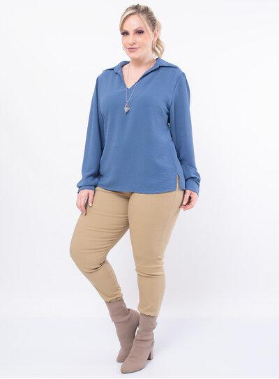 Blusa Plus Size Estilo Camisa