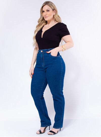 Body Plus Size Canelado com Tule