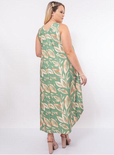 Vestido Plus Size Estampado com Bolso