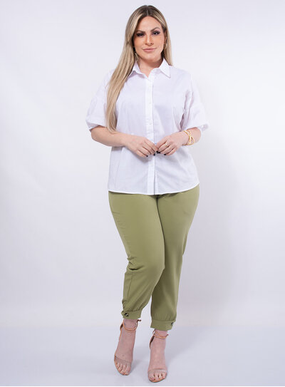 Camisa Plus Size Manga Curta Bufante