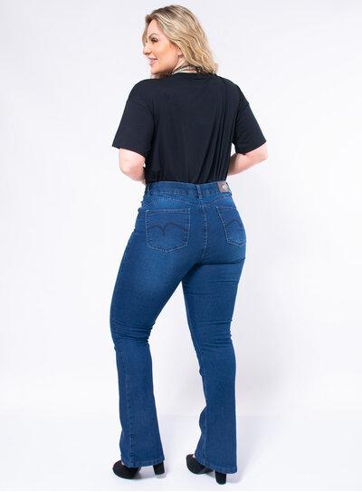 Calça Flare Plus Size Jeans Básica