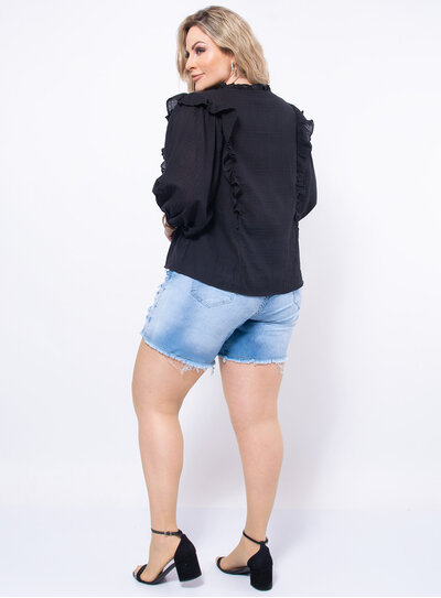Blusa Plus Size Babado Transversal