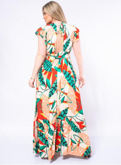 Vestido Longo Plus Size Decote nas Costas