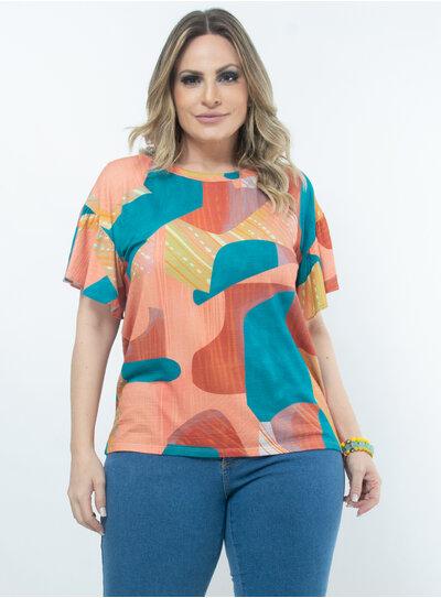 Blusa Plus Size Estampa Abstrata