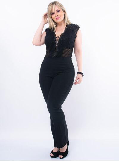 Body Plus Size em Renda com Tule