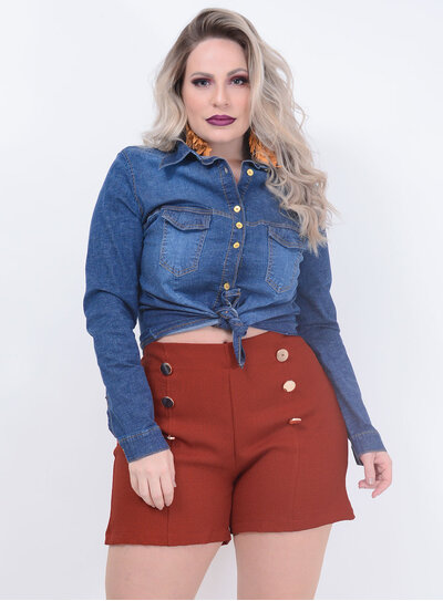 Camisa True E- Motion Jeans Plus Size