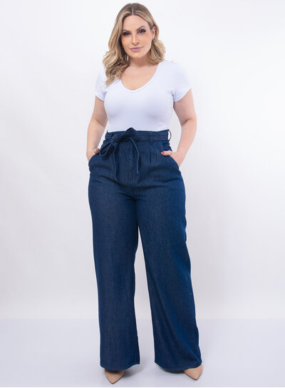 Calça Plus Size Pantalona Jeans