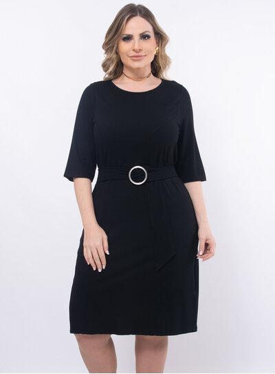 Vestido Plus Size com Cinto Faixa