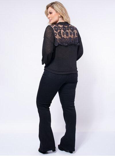 Casaco Plus Size Canelado com Renda