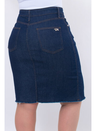 Saia Jeans Plus Size Longa Destroyed