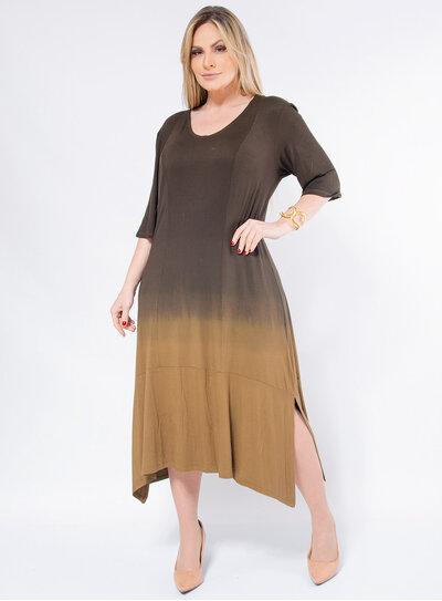 Vestido Plus Size Ombré Amplo
