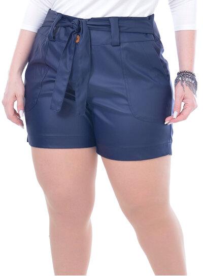 Short Plus Size em PU com Cinto Azul Marinho
